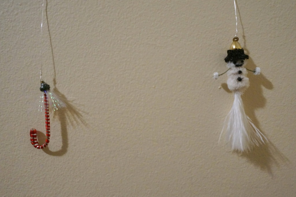 A couple Christmas flies I made with my daughter to hang on the tree