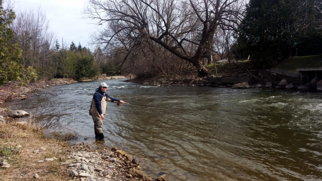 Ryan drifting nymphs, searching for steelhead on the Beaver River opening weekend.