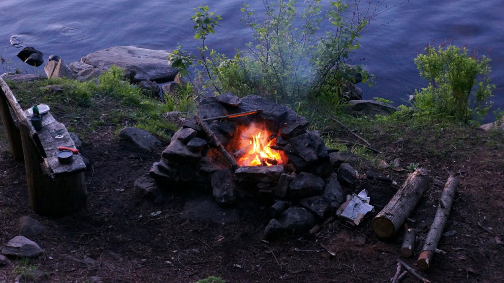 Campfire on Big Crow Lake, providing a bit of relief from the mosquitoes