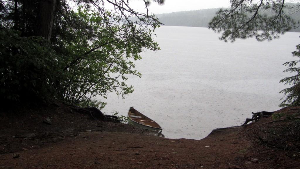 Back at the Proulx Lake portage, still raining