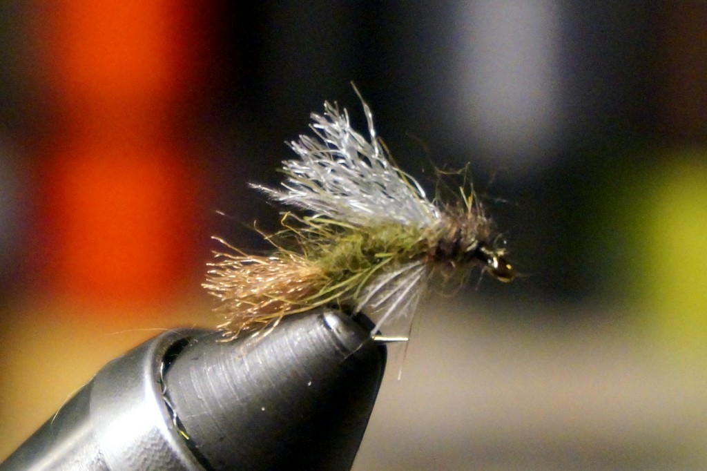 Caddis or BWO emerger, loosely based off a Snowshoe Emerger pattern